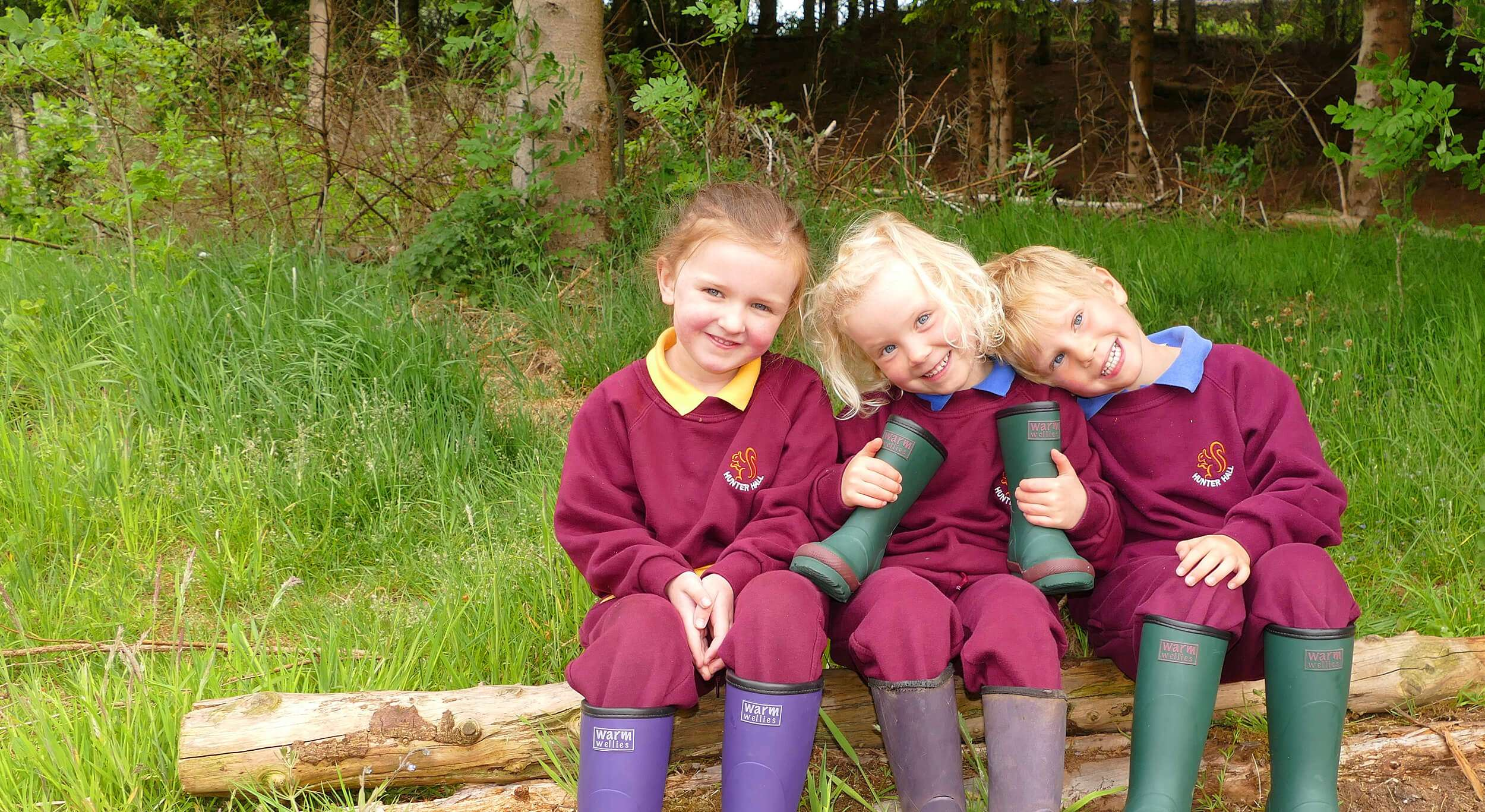 Three happy Hunter Hall pupils – Virtual Open Day